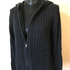 Women's Size 14/16 Black Hooded Full Zip Sweater